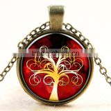 XP-TGN-LT-175 Cheapest Price Life Tree Pendant Antique Dome Cabochon Charm Glass Silver Time Gem Necklace For Gift