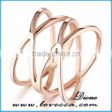 Wholesale new design knot 316l stainless steel rose gold plated finger ring