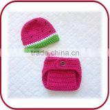 PGGD-1083 girls diaper cloth crochet baby hat and diaper cover set