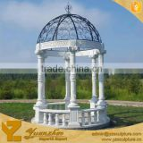 outdoor white marble gazebo with iron roof for sale