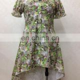 skirt dress type green floral printed short sleeves beautiful collar baju kebaya dress