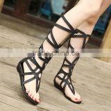 B13350A sexi lady bandage knee high boosting sandals boots
