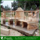 Garden Decoration Lion Head Red Marble Bench