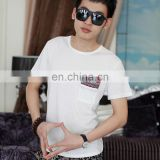 Peijiaxin Latest Design Casual Style O-neck White Plain Cheap Men Fancy Pocket T shirt