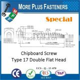 Made in Taiwan Double Flat Head Torx Drive Special Chipboard Screw Type 17 Screw