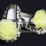 Leopard Print Shoes with Yellow Rosettes Pettishoes Crib Shoes MAS17