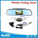 Car wireless reversing camera with rearview mirror 4.3inch tft lcd color monitor two way vedio input and butteryfly camera