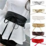 New Fashion Women Belt Soft Leather Wide Self Tie Wrap Around Waist Band Dress Belt