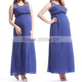 hot sale plain navy maternity dress,latest maternity maxi dress designs v neck maternity dress