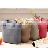 Linen Material Handle Women Lunch Cooler Bag Shopping Cooler Bag