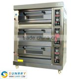 Energy saving commercial 3 deck 6 trays stainless steel cake baking gas oven for pizza used with door glass