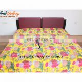 Single Fruit Print Kantha jaipur quilt handmade cotton Indian Rajasthani Yellow Color Handmade 100% cotton comforter