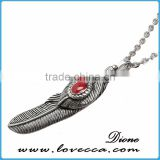 Newest design high quality titanium steel antique silver feather pendant for men necklace