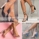 B22418A Europe hot sale transparent PVC strap bandage high-heeled sandals