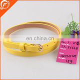 fashion PU leather yellow lady girls belt 100cm long 1.5cm wide