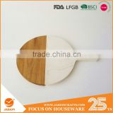 kitchen chopping marble and wooden serving board with handle