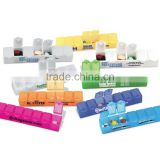 "USA Made All-Week 6"" Pill Box - a week's supply of pills in seven compartments, snap-tight lid and comes with your logo"