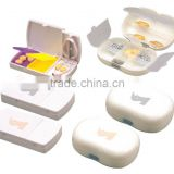 pill storage case with cutter/ weekly pill box/plastic pill box with cutter/Multi-functional Plastic Pill Box With Cutter