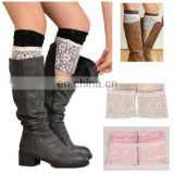 Double Side Lace Trim Modal Boot Cuffs Toppers Leg Warmers Winter Socks