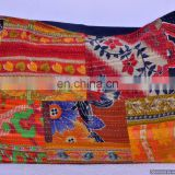 Indian Kantha Hand Stitch Throw Pillow Cover Ethnic Decor Vintage Pillows