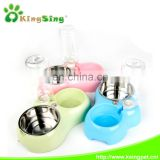 Double dinner bowl for cats, plastic and stainless steel pet bowl with water bottle
