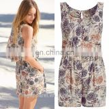 women playsuits summer 100% viscose floral sexy open back playsuit wholesale