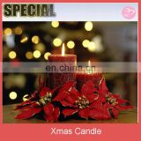 Red color printing Christmas pillar candle