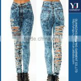 women High waist acid wash ripped frayed and shred jeans