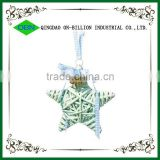 Colorful wicker christmas star shaped decoration