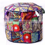 "Indian Handmade Patchwork Embroidery Design Ottoman Pouf Cover Round Traditional Footstool Cover 22"" Inch ( Diameter)"