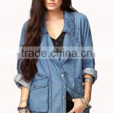 hot selling custom <b>denim</b> <b>jacket</b>s wholesale long sleeve beaded plain women <b>denim</b> <b>jacket</b> wholesale <b>denim</b> <b>jacket</b>s