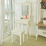 Ivory white dresser wooden MDF <b>dressing</b> table with <b>mirror</b> drawer stool