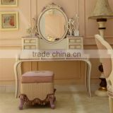 French style wooden carved purple and ivory painting antique vanity makeup dresser with mirror - BF07-70355D