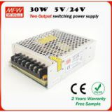 30w Dual output type power supply 5v/34v output led driver with CE ROHS certificates