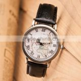 wholesale Top selling black 2015 new luxury Leather strap world map vintage watches