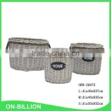 Set 3 wicker round hamper kubu grey rattan basket with liner handle