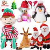 2017 Christmas Singing Stuffed Animal Reindeer Santa Claus Penguin Toy Teddy Bear Tree Soft Mini Elf Plush Toy