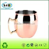 100% solid copper mug for cocktail , stainless steel copper plating
