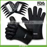 BBQ Free Bear Claw Meat Claws Shredder Handlers Forks + Silicone Gloves(1 Bear Claw + 1 pair of Silicone Glove)