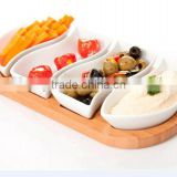 Four Sets Ceramic Food Serving Dish With Wood Stand