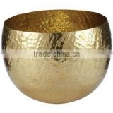 Brass hammered hanging bowl