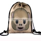 Monkey Printed Polyester Recycle Cheap Emoji Rope Bag