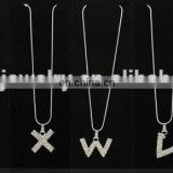 Silver slide letter necklace