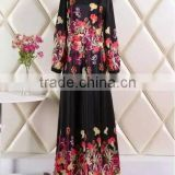 women stunning looking printed fashion muslim dress/hot sell women abaya kaftan dresses/ islamic muslim women dress