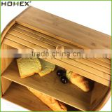 Bamboo corner bread box for kitchen Homex-BSCI
