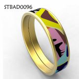 Gold Plated Smooth Stainless Steel Women Enamel Bangle