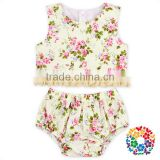 Girls Summer Baby Boutique Floral Outfits Tassel Tank Top And Diaper Cover Bloomer Fashion Clothing