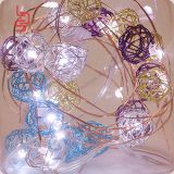 Rattan ball colorful white led copper string light cr2032 2m 20 lights fairy light string