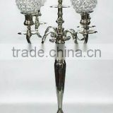 nickle plated crystal ball candelabra