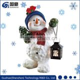 Garden snowman statue, Christmas snowman lanterns decoration